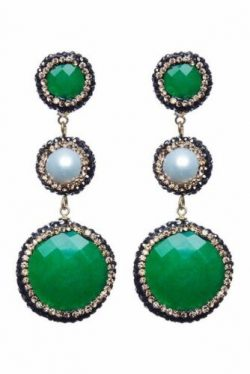 Avah and Ella Emerald Green Quartz, Freshwater Pearl and Hematite Drop Earrings – SALE!