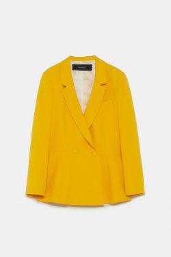 Zara Women's peplum Blazer, Mustard/Yellow, Large