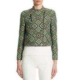 Akris Punto Diamond Jacquard Moto Jacket, Agave (green multicolor), US size 8