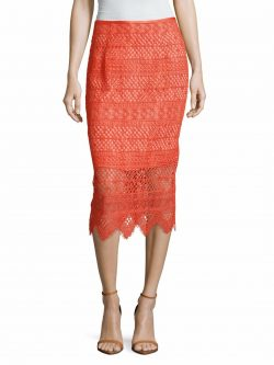 Shoshanna Women's Lace Pencil Skirt, size 6, coral/red – ON SALE NOW