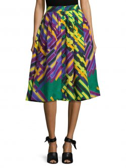Tracy Reese Linen/Silk Pleated Print A line Midi Skirt, Purple multi, size 6