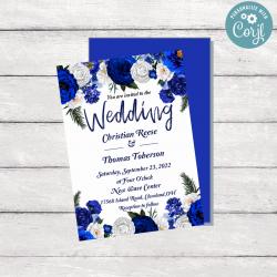 Royal Blue Floral Wedding Invitation Template