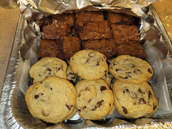 Chocolate Brownies with chips and homemade chocolate chip cookies!
