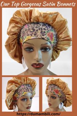 Large Ankara Satin lined Bonnet