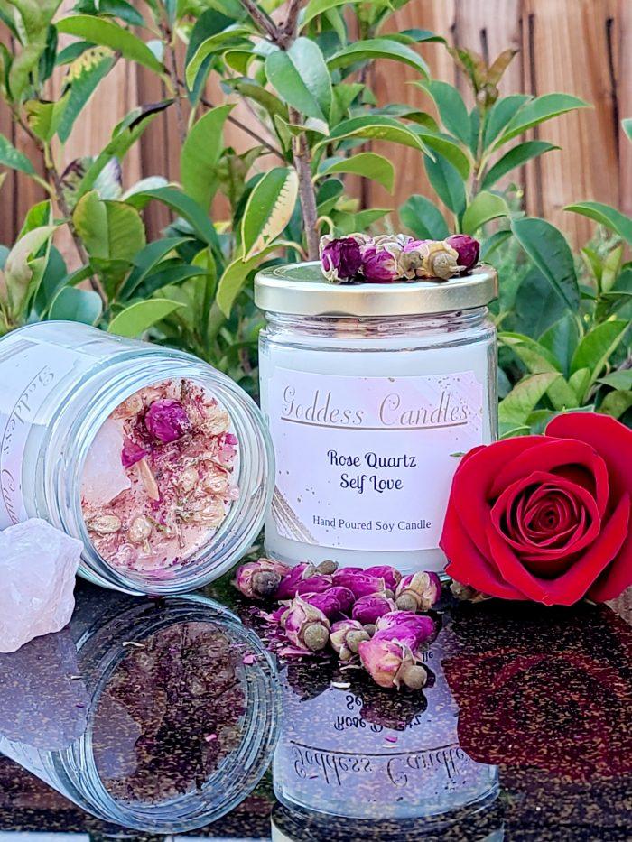 Rose Quartz Goddess Candles