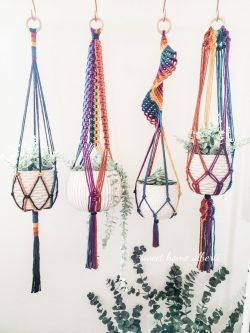 Rainbow Macrame Plant hangers by Sweet Home Alberti