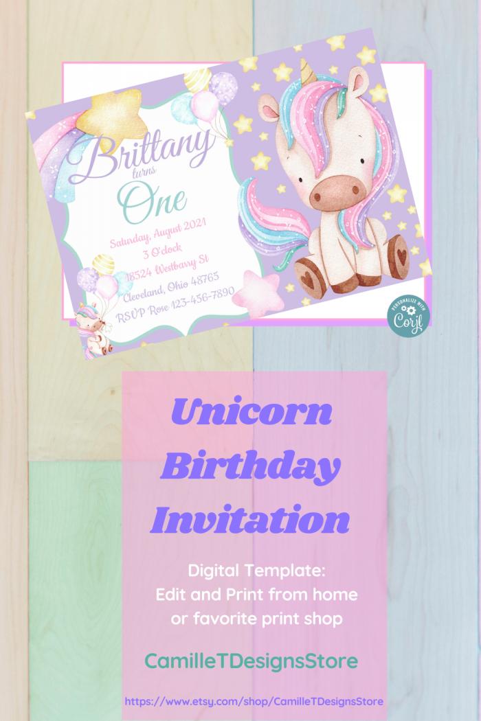 Unicorn Birthday Children Invitation Digital Template