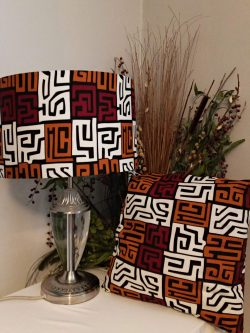 Stunning 'Square Maze' 40cm Drum Lampshade And Cushion