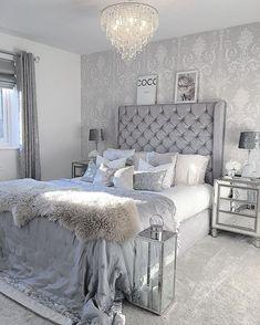 grey and white bedroom decor