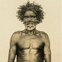 Portrait of a Larrakia elder taken in the late 1870s in Darwin, Northern Territories. He has sca ...
