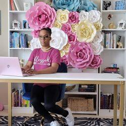 Social media backdrop. Paper flower wall.