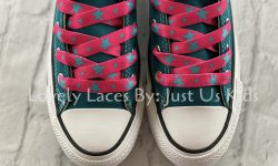 Hot Pink and Turquoise Star Shoelaces for sneakers.