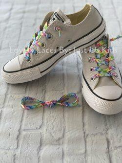 Rainbow Floral paisley print shoelaces