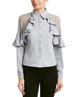 Gracia Women's Ruffle button down top/blouse, Gray, Large – ON SALE NOW