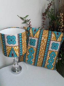 Turquoise and Beige 20cm Drum 'Kramo Bone' African Ankara Print Fabric Handmade Lamp ...