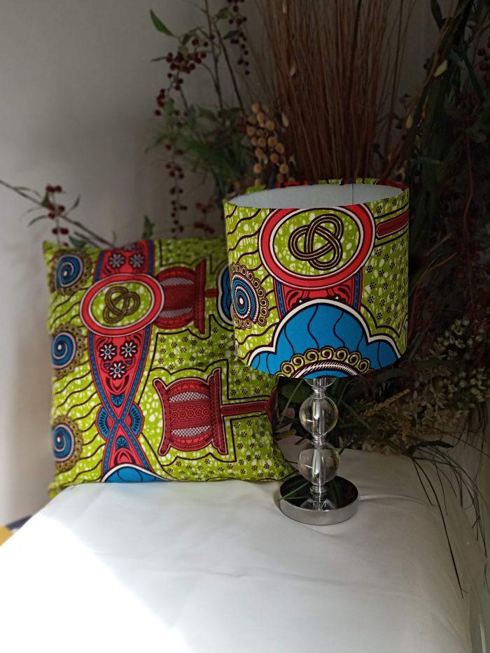 Exquisite Handmade 20cm Drum 'Lush' African Ankara Wax Fabric Lampshade