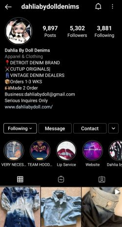 Black Owned Business Her Instagram page is @dahliabydolldenims !