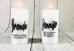 Custom , personalized candles. Perfect for gifts