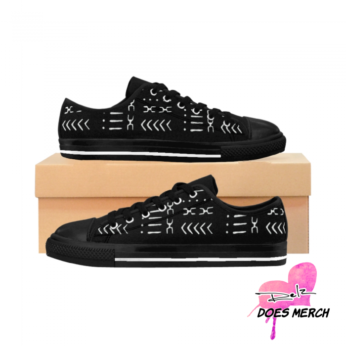 Black and White Women's African print Sneakers