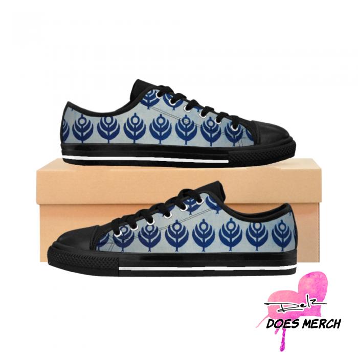 Blue Ankara Flower Print / African Print Women's Sneakers