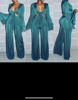 Hunter Green Flare Pants Set