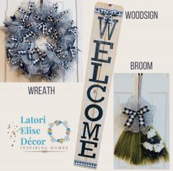 Custom Wreath, Wood Sign (Board), Broom. (Front Porch/ Decorated Wall)