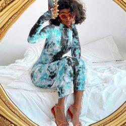 BOOFEENAA Snakeskin Tie Dye Dress