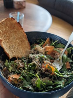 Rice noodle salad bowl with toast I made this the day before grocery day so I just added in what ...