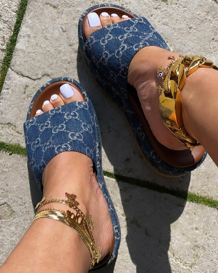 Denim Sandals Ankles with SJ glow