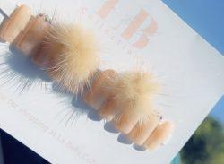 Tan Pom Pom nails