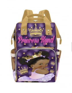 Afro Princess Pink, Purple, and Gold Personalized Multifunction Diaper Bag