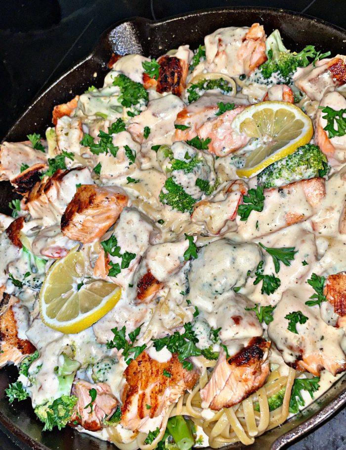 Blackened salmon and shrimp Alfredo pasta