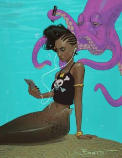 mermaid getting her hair braided