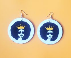 Shaded Queen & Crown | Afrocentric Earrings | Afrocentic Jewelry | Melanin