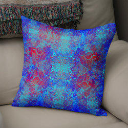 LEAF BLOOM CUSHION in BLUE with RED UNDERTONE FAUX SUEDE (VEGAN SUEDE) or POLY LINEN