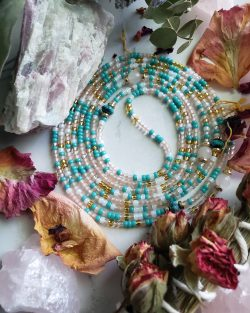 Liberation: Natural Rose Quartz and Turquoise Waistbeads