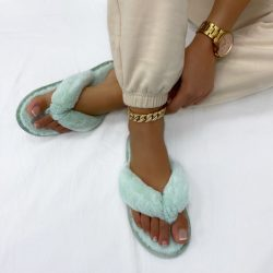 Peaches Mint Green Fluffy Toe Post Slippers