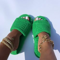 Soft Green Cushy Slippers w/Gold Ankle Jewelry