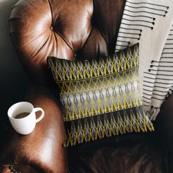 CUSHION – Linen or Faux Suede BLACK, GREY & YELLOW Soft Furnishings