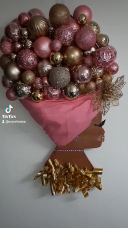 Afro Wreath Pink and Gold