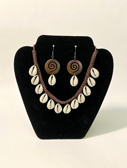 Cowrie Wooden Earrings and Hemp Necklace Set