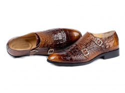 Awesome Handmade Men's Brown Alligator Textured Leather Shoes, Men Double Monk Dress Forma ...
