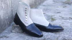Awesome Handmade Men's Black Leather Fabric Cap Toe Button Boots, Men Fashion Ankle Boots
