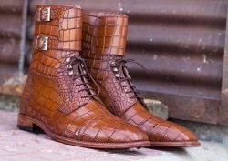 Awesome Handmade Men's Brown Alligator Textured Leather Boots, Men Fashion Buckle & La ...