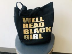 Well read black girl tote bag, African American tote bag, gifts for book club, black canvas book ...