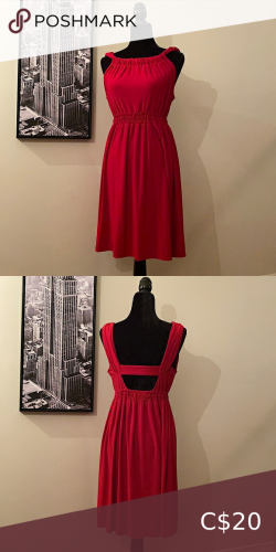 Red Grecian Style Midi Keyhole Back Dress