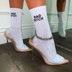"""Bad Bitch"" white socks & heels"
